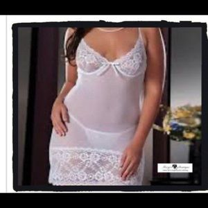 Other - 2pc White Lace Lingerie Set Teddy with Thong